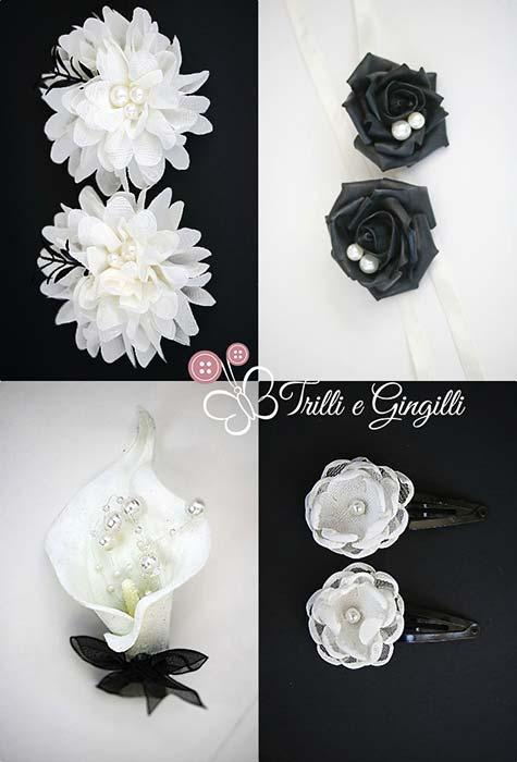 accessori coordinati per matrimonio in bianco e nero