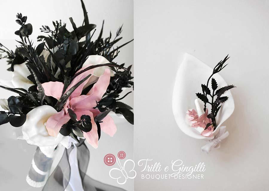 bouquet bianco nero rosa con piume