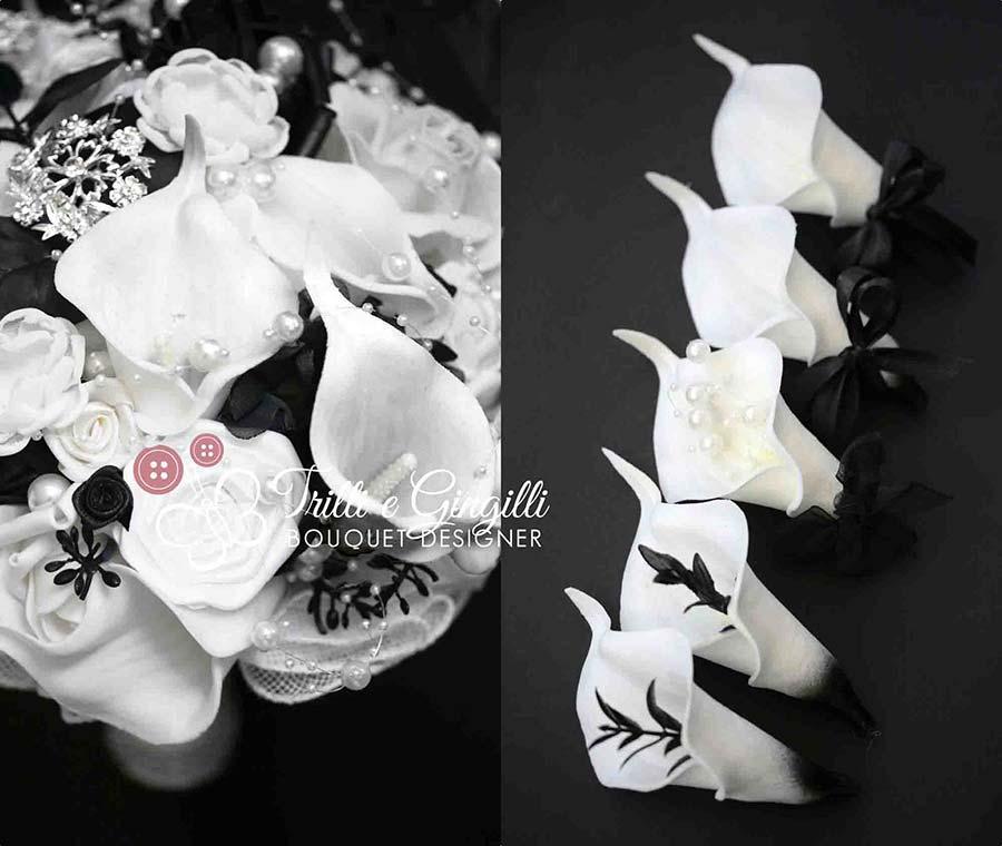 bouquet sposa bianco e nero con calle