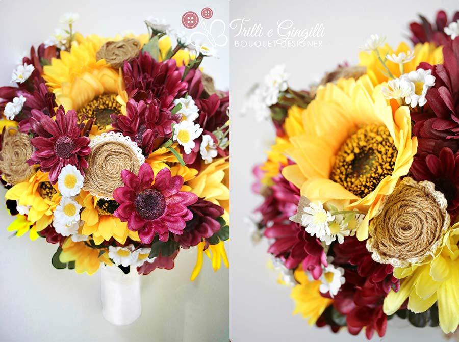 bouquet sposa con margherite girasoli gerbere