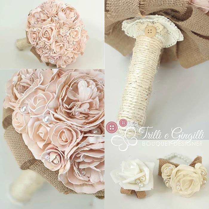 bouquet country chic con rose e peonie