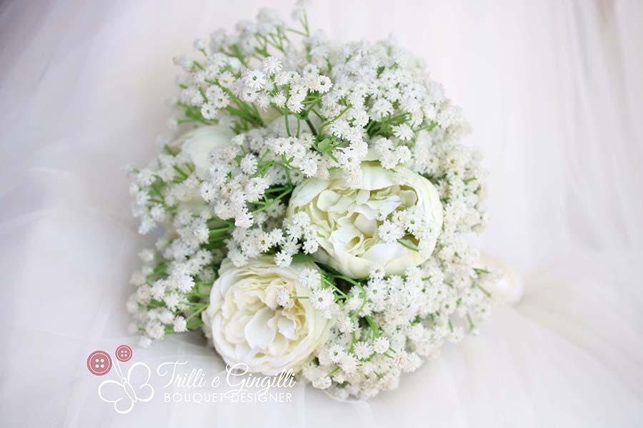 bouquet semplice peonie gypsophilia