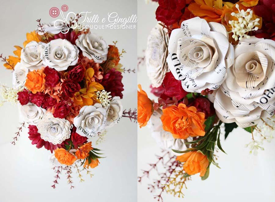 Bouquet a cascata arancio e rosso con rose di carta