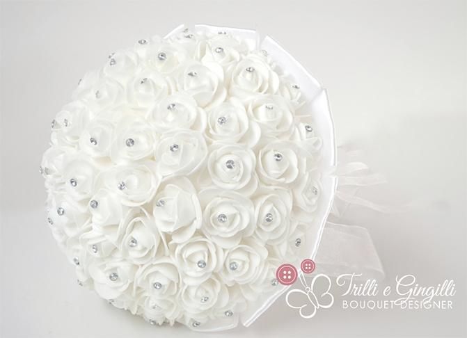 bouquet roselline bianche strass