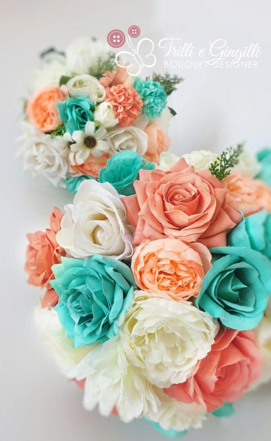 bouquet sposa arancione e azzurro