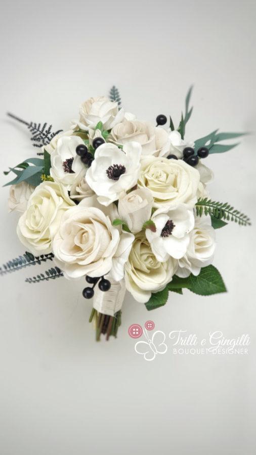 bouquet sposa bianco rose e anemone