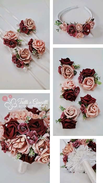 bouquet di peonie rosso e rosa con accessori coordinati
