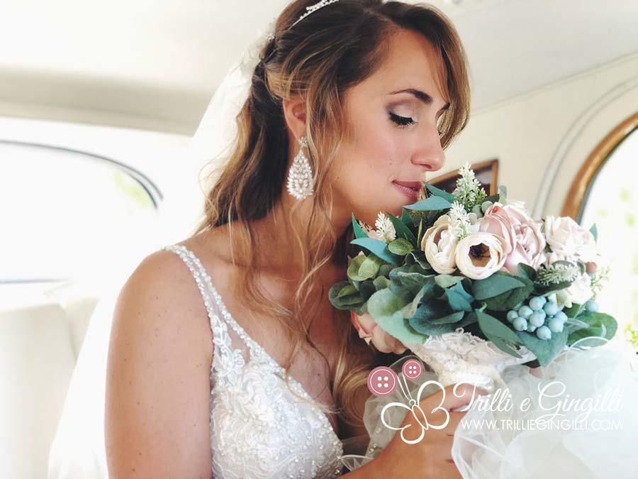 bouquet sposa boho chic verde salvia e bianco