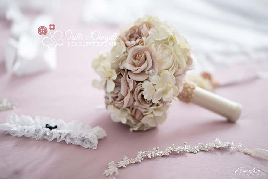 bouquet sposa rosa antico e bianco