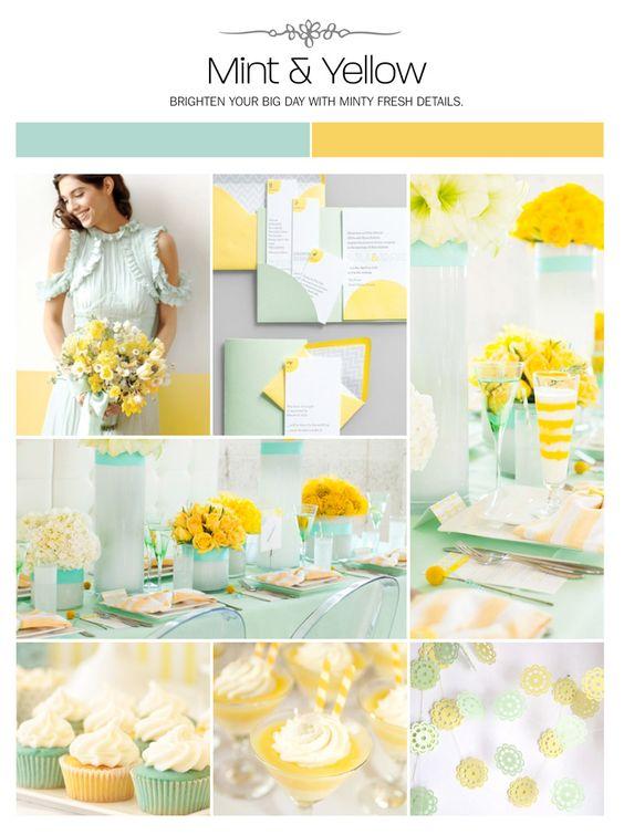 palette matrimonio color pastello giallo e verde menta