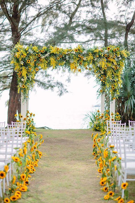 allestimento matrimonio giallo girasoli