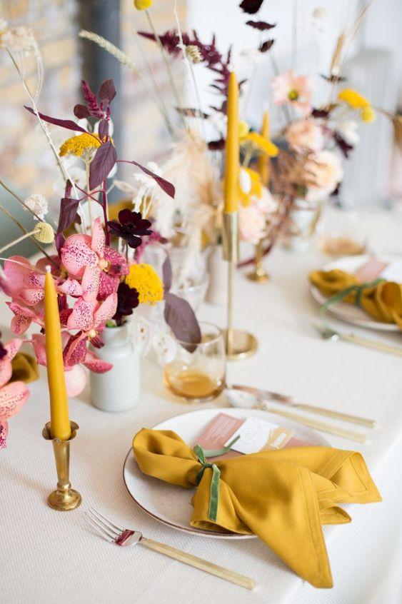 decorazioni matrimonio giallo senape