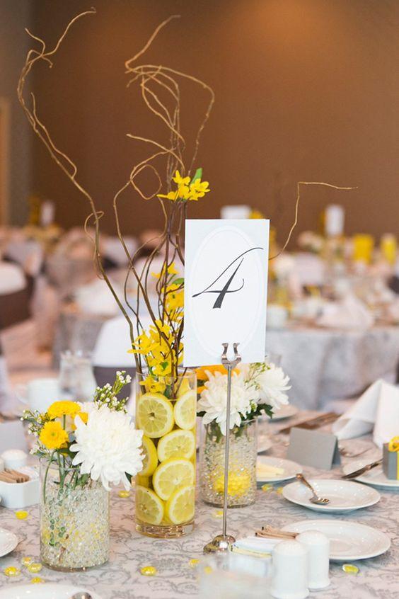 decorazioni tavola matrimonio giallo
