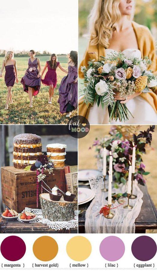 matrimonio autunnale palette giallo viola