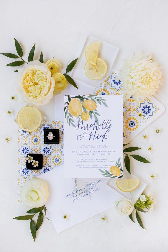 partecipazioni matrimonio giallo tema sicilia