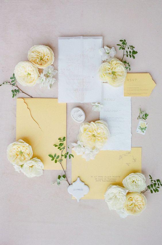 partecipazioni matrimonio tema giallo